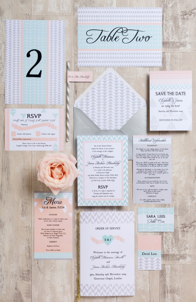 Geometric Coral and Mint Aqua stationery