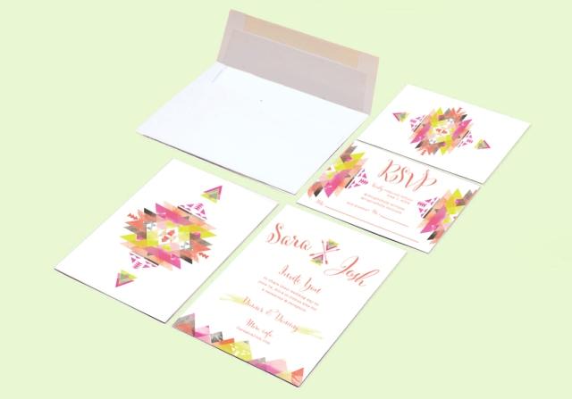 geometric wedding invite and RSVP