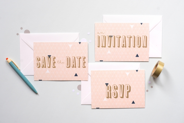 Pretty pink geometric stationery with gold accents
