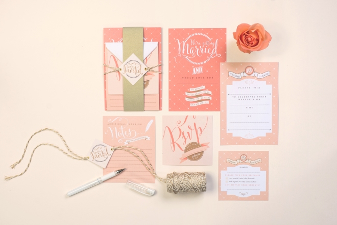 Paperknots; coral wedding stationery