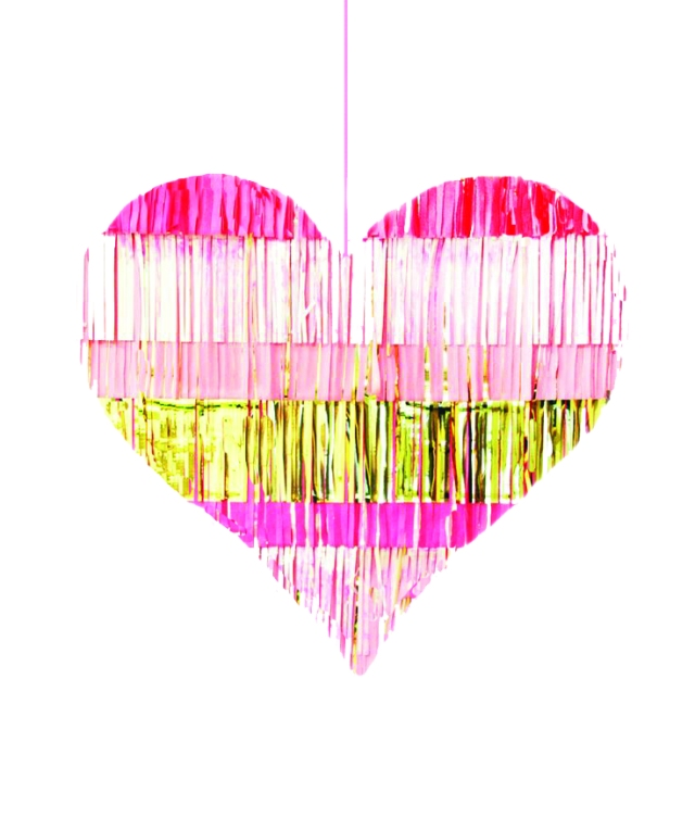 Pink and gold tassel wedding piñata