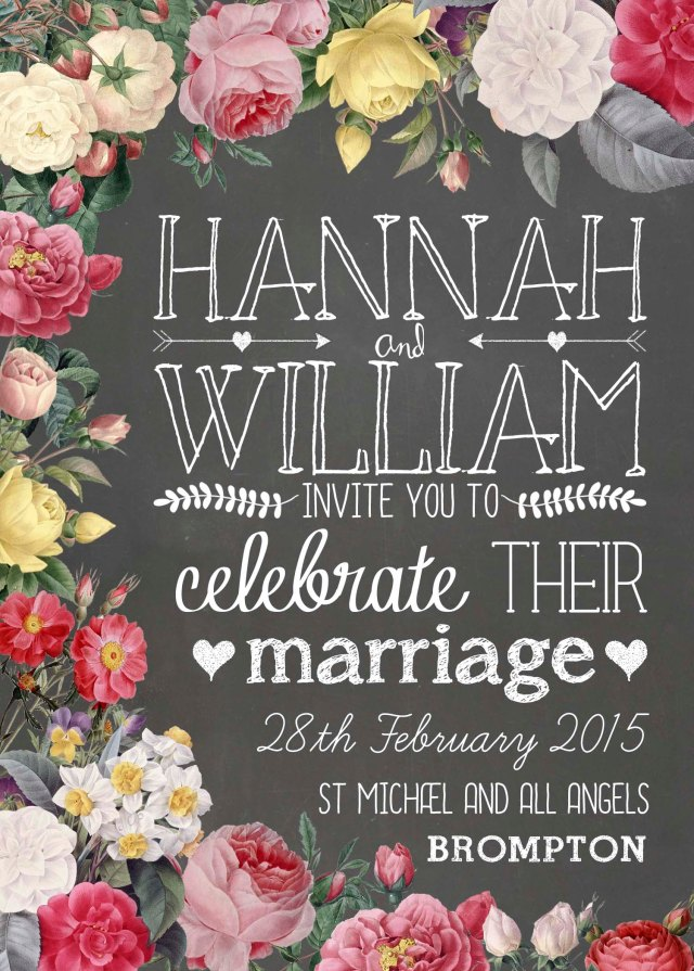 Floral Chalkboard Invitation (From £2.25 with envelope, www.swoonatthemoon.co.uk)