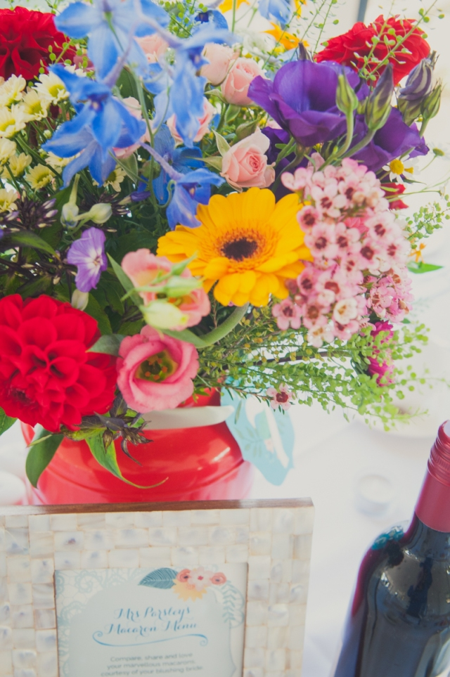 Red blue wedding flowers