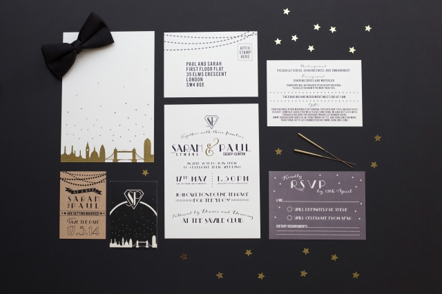 Black gold wedding stationery