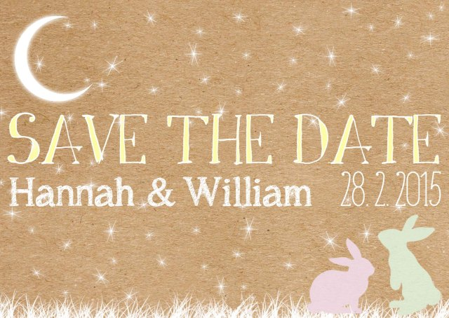 Swoon at the Moon Woodland save the date postcard