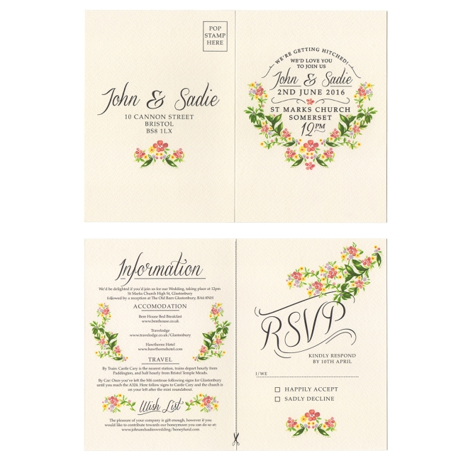Rustic country wedding invitation CL.AM Bohemia invite