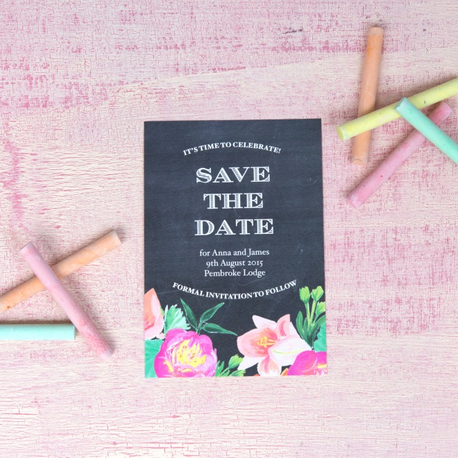 BerinMade wedding invites, chalkboard wedding invites, modern floral wedding stationery