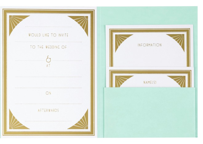 Paperchase Gatsby wedding stationery; cheap wedding stationery; budget wedding invites; art deco wedding stationery