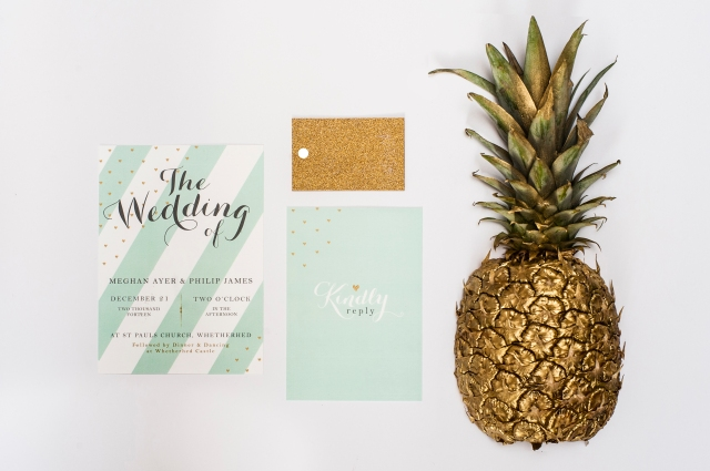 Glitter wedding stationery