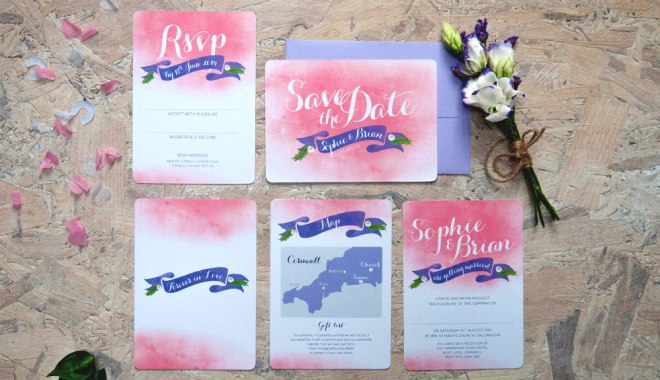 Pip Designs wedding stationery, pink wedding invites, ombre wedding invites, colour wash wedding invites, watercolour wedding invites