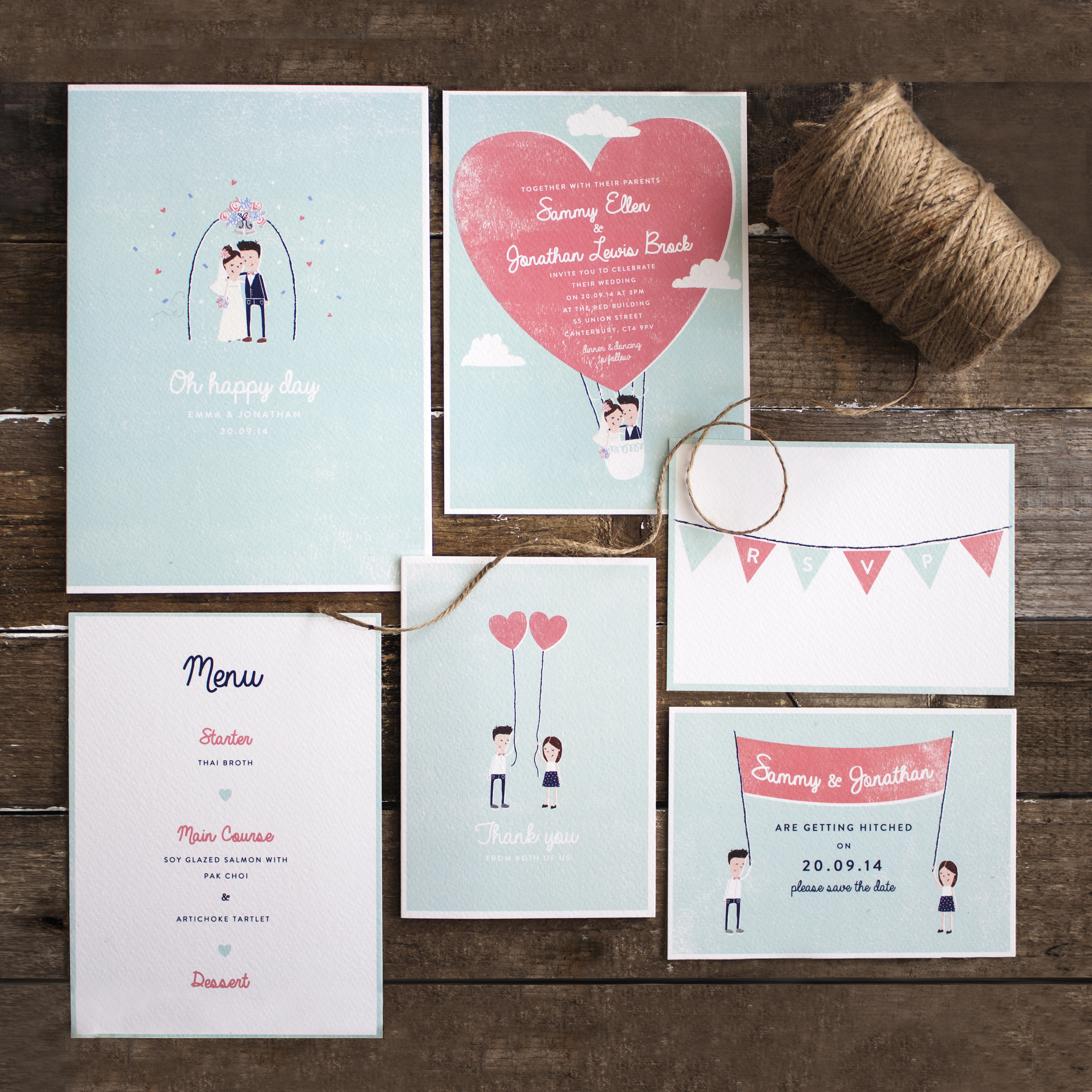 mid week crush let's fly away invites by the lovely drawer Personalised Drawing Wedding Invitations invites with drawing of bride and groom; personalised invites, balloon wedding invites, the personalised drawing wedding invitations
