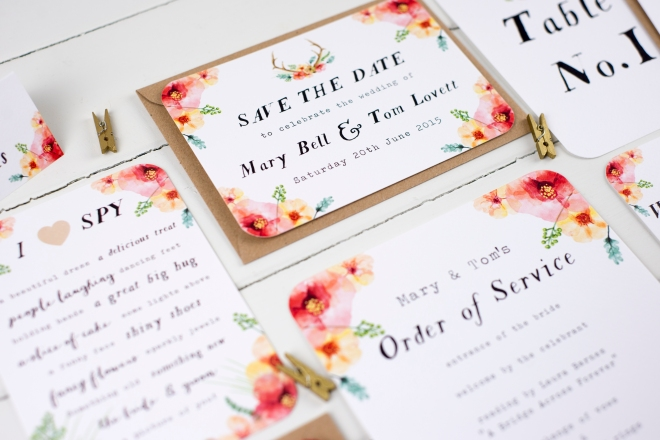 Wildflower wedding stationery, floral wedding stationery, floral wedding invites, Nina Thomas Stationery, hand-painted wedding invites