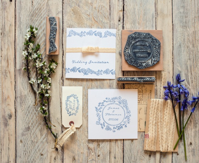 wild flower garland personalised rubber stamp