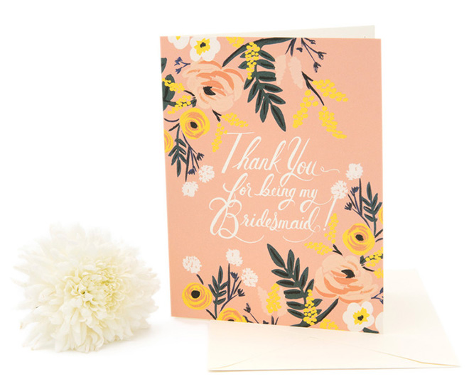 Rifle Paper Co thank you bridesmaid card